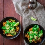 Sweet Potato Noodles with Shrimp and Cilantro Pesto. A gluten-free and primal recipe from Katie Webster of Healthy Seasonal Recipes