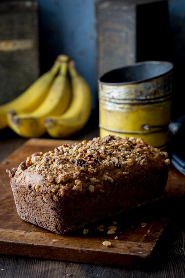 Healthy Banana Bread with Dates and Walnuts. Made with whole-grain flour and no refined sugar on healthyseasonalrecipes.com
