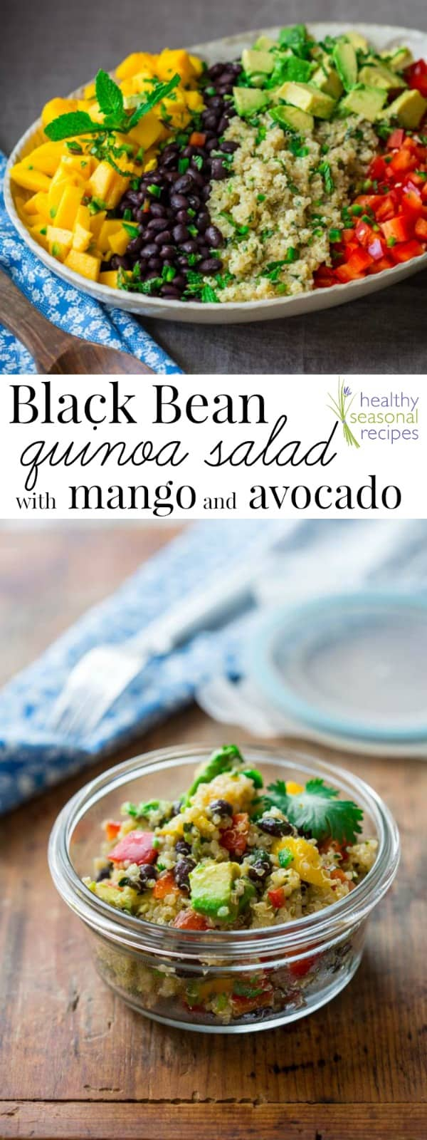 colorful Quinoa Salad photo collage with text