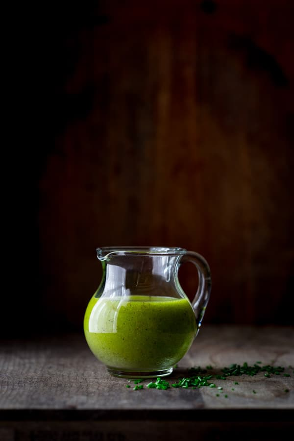 chive oil salad dressing by Katie Webster on Healthy Seasonal Recipes. It is a simple, vegan and gluten-free salad dressing that goes with spring greens, radishes, goat cheese and many more combinations.