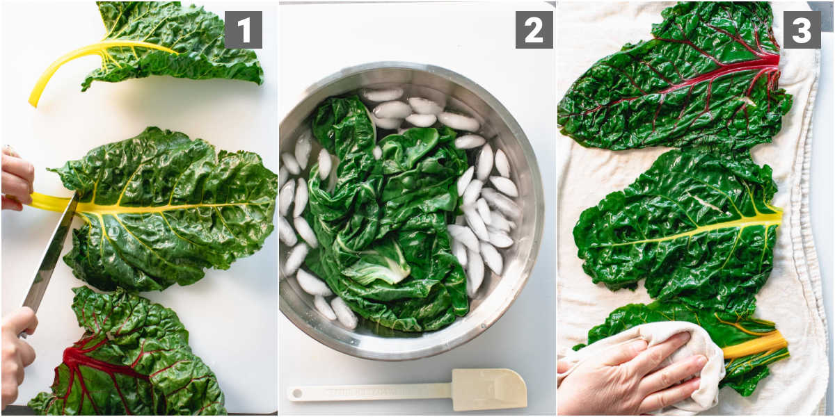 Steps to make swiss chard rolls with beef- blanching the chard leaves
