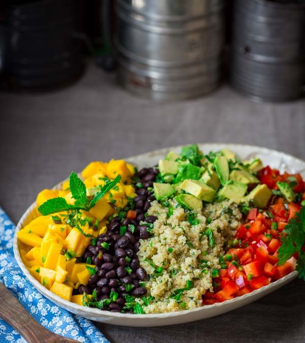 black bean quinoa salad with mango and avocado