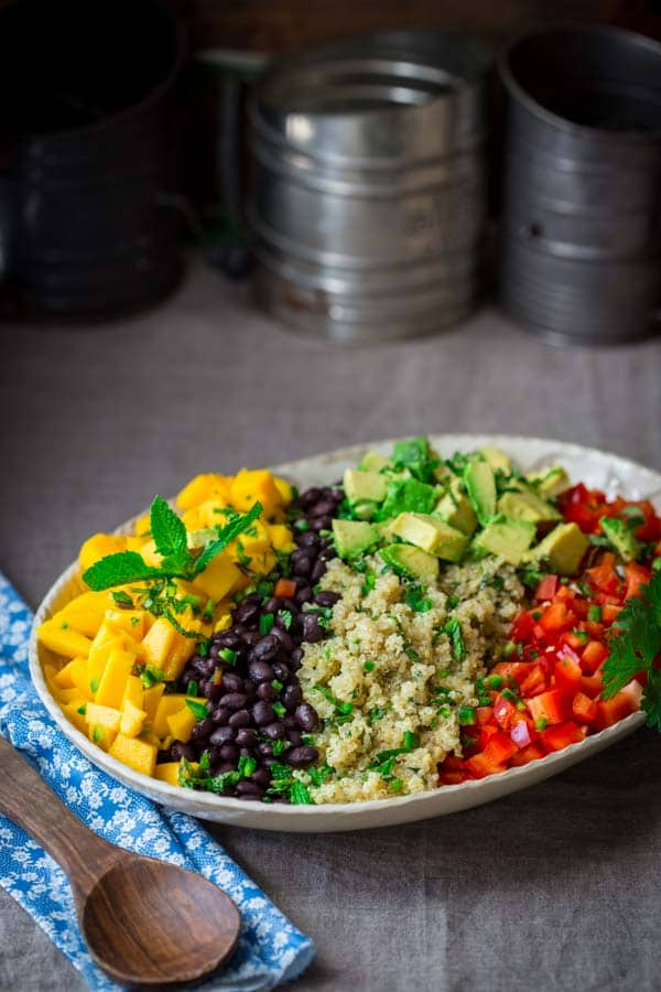 This black bean and quinoa salad with mango and avocado is a delicious ...
