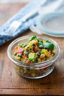 Black Beans and Quinoa Salad with Mango, Cilantro and Avocado. A healthy, vegan, glutenfree side dish or lunch.