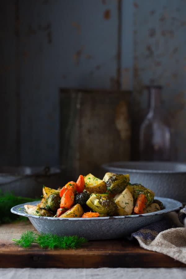 Roasted Root Vegetables with Tender Spring Herbs by Katie Webster on HealthySeasonalRecipes.com