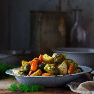 Mixed roasted root vegetables with Brussels Sprouts, spring herbs and lemon zest on Healthy Seasonal Recipes by Katie Webster