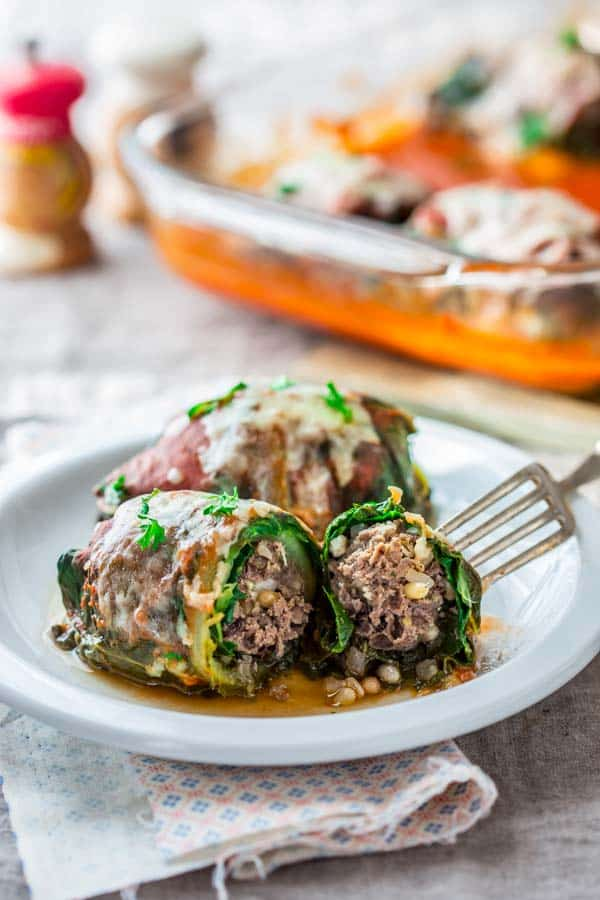 Swiss Chard Rolls with Beef and Pine Nuts, grain-free comfort food on Healthy Seasonal Recipes by Katie Webster
