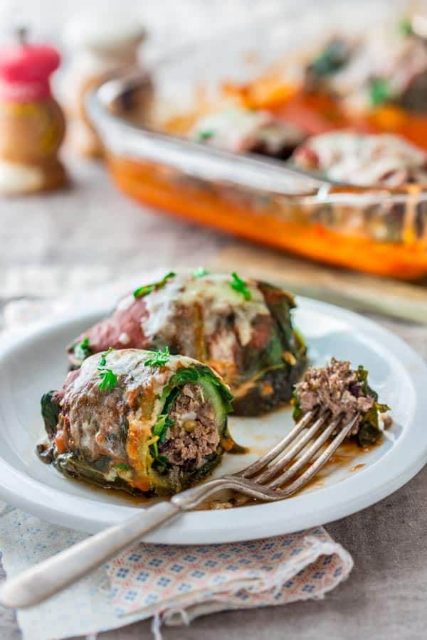 Stuffed Chard Leaves with beef and Pine nuts