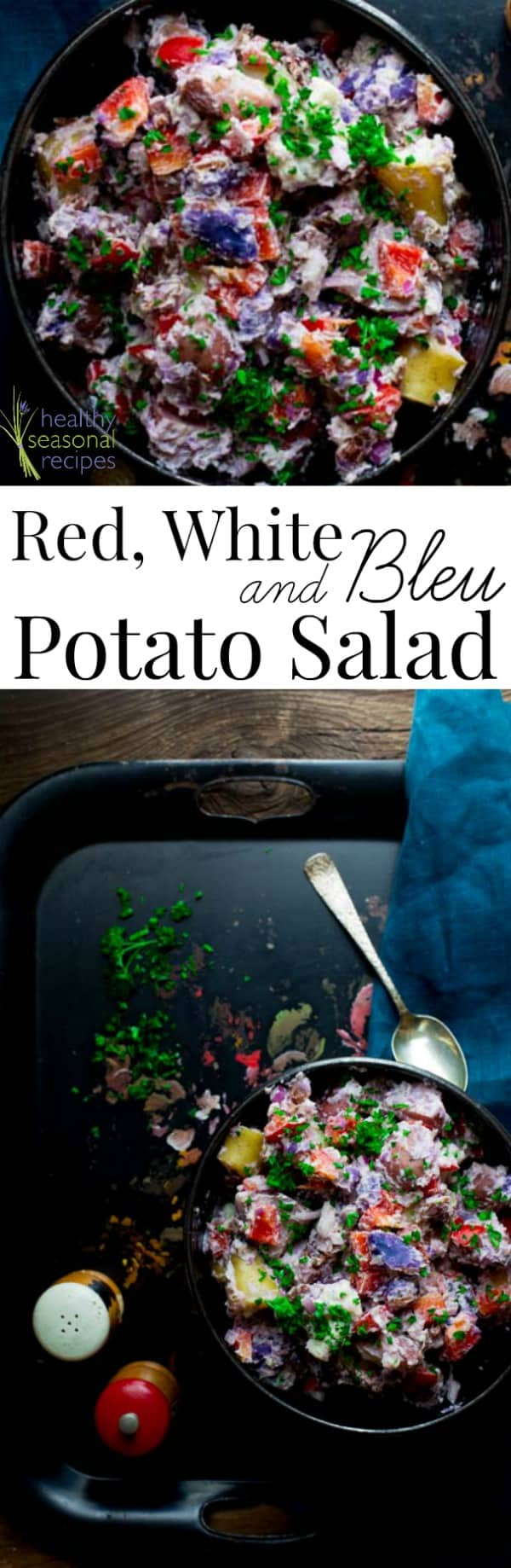 Red White and Blue Potato Salad (made with Bleu Cheese, Bacon and Creamy Horseradish Greek Yogurt Dressing.) A patriotic side dish for Memorial Day or the Fourth of July. Healthy Seasonal Recipes #potatosalad #fourthofjuly #redwhiteandblue #recipe #healthy #glutenfree