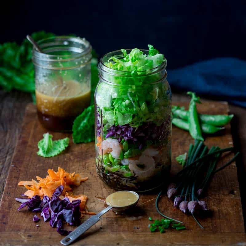 shrimp and edamame power salad in a jar