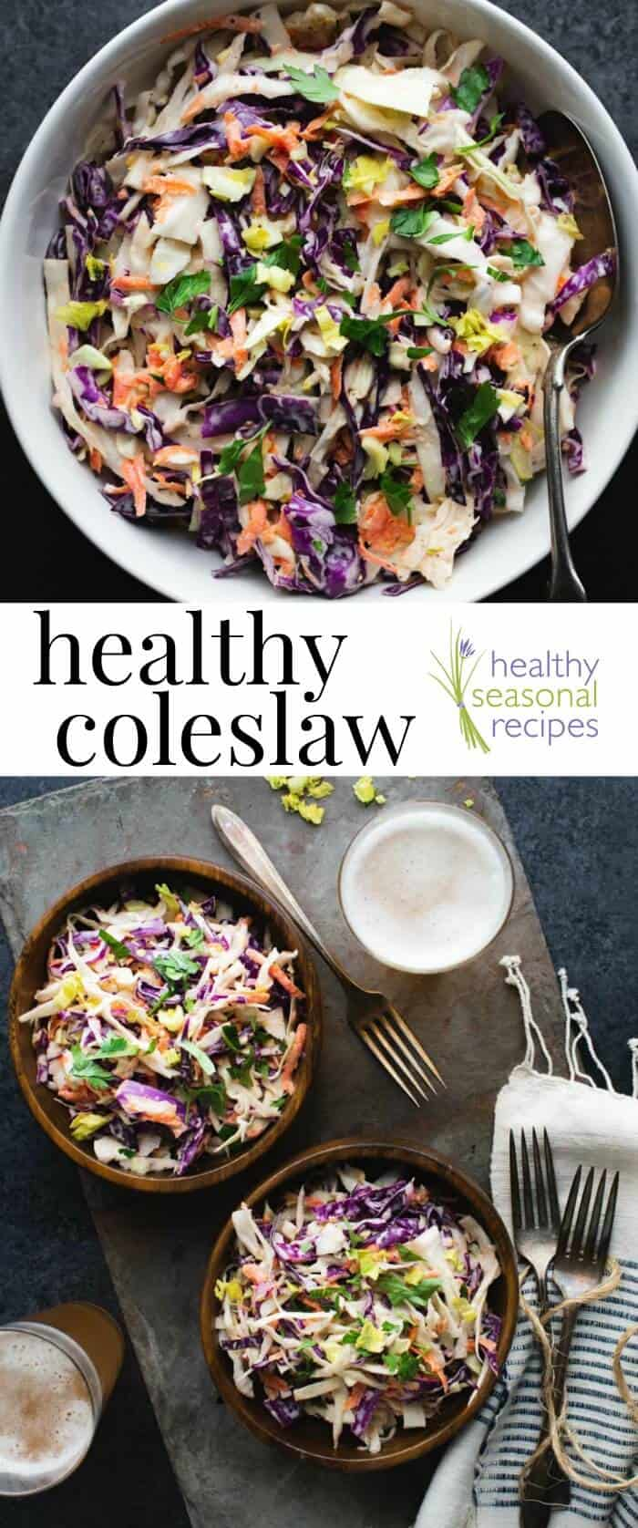 Healthy Coleslaw Recipe with red and green cabbage, carrots and creamy Greek-yogurt dressing. Only 75 calories per serving! #healthyseasonal #vegetables #sidedish #coleslaw #salad #cabbage #cookout #fourthofjuly #memorialday #barbecue