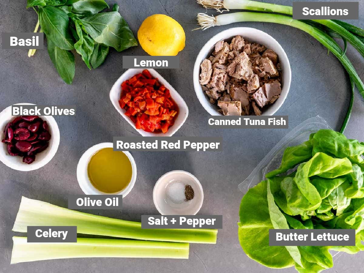 Ingredients for tuna with mediterranean flavors with labels