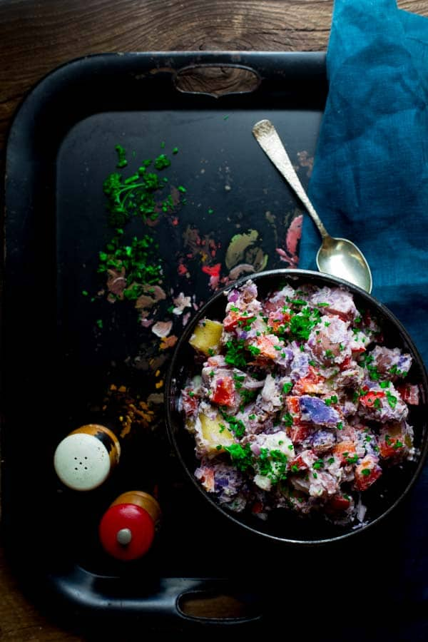 Red White and Blue Potato Salad (made with Bleu Cheese, Bacon and Creamy Horseradish Greek Yogurt Dressing.) A patriotic side dish for Memorial Day or the Fourth of July. Healthy Seasonal Recipes