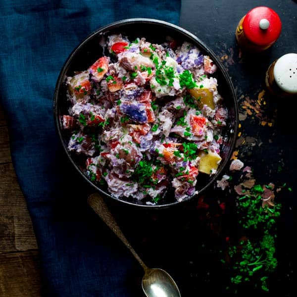 red white and bleu potato salad with horseradish and bacon