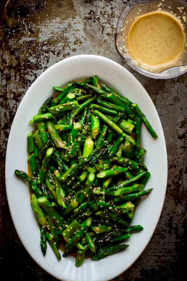 Vegan Roasted Asparagus Salad with Sesame Dressing by Katie Webster on Healthy Seasonal Recipes