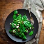 Spinach and Scallion Salad with Hot Bacon Dressing on Healthy Seasonal Recipes