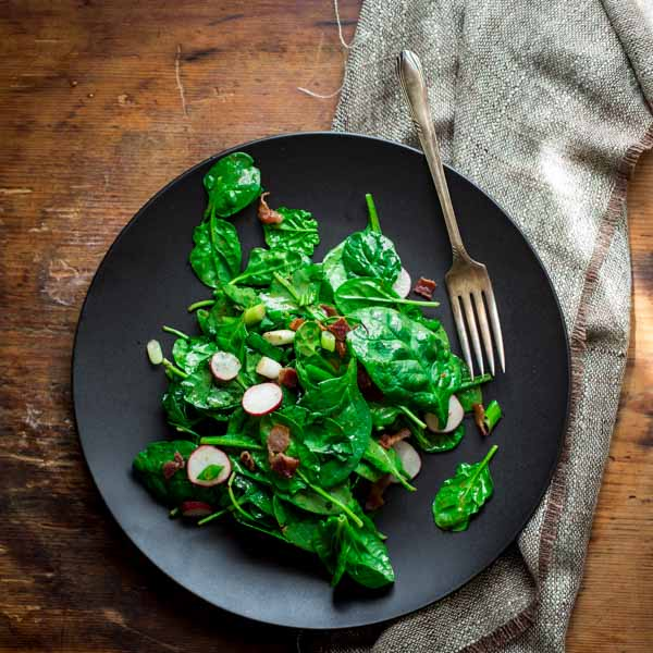 spinach and scallion salad with hot bacon dressing - Healthy Seasonal ...