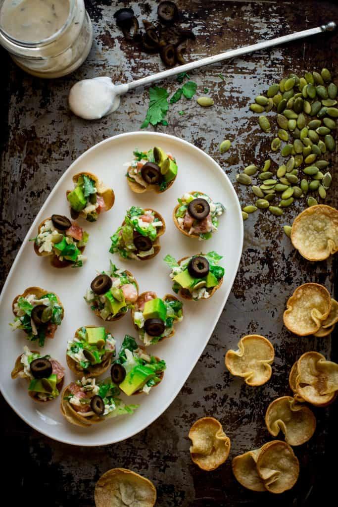 tacito salads ~ mini taco salad appetizer bites