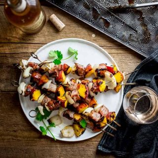 4 ingredient pork and peach kebabs made with teriyaki marinade on Healthy Seasonal Recipes