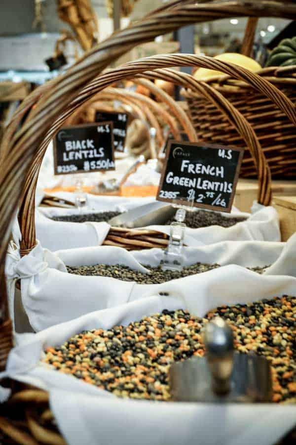 lentils in baskets