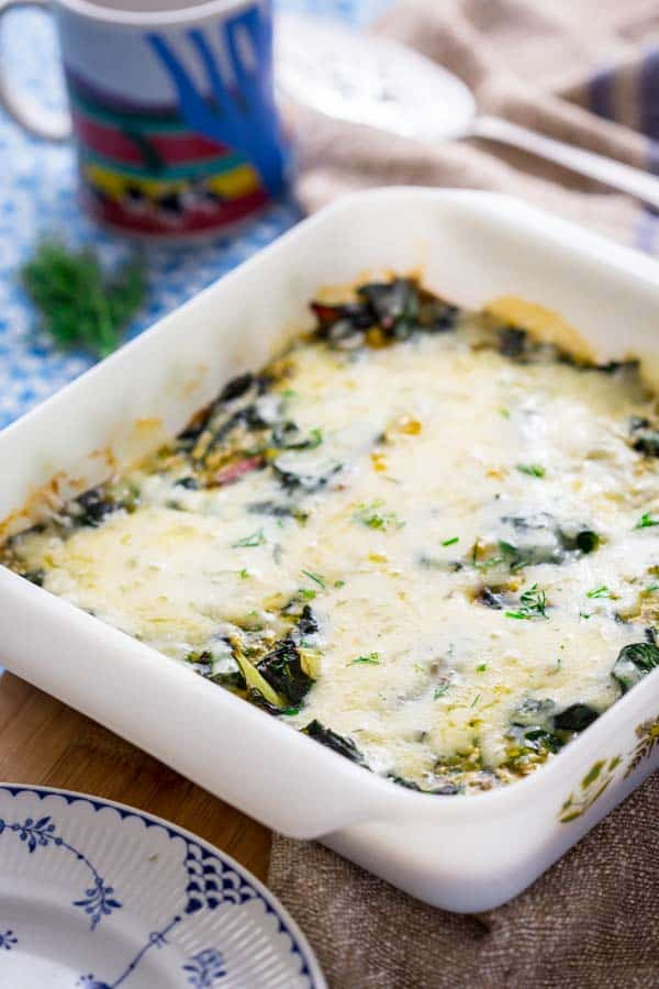 Get your greens at breakfast with this simple Chard and Egg Bake by Healthy Seasonal Recipes. Everyone will enjoy it since it's covered in cheddar cheese and it's naturally high in protein.