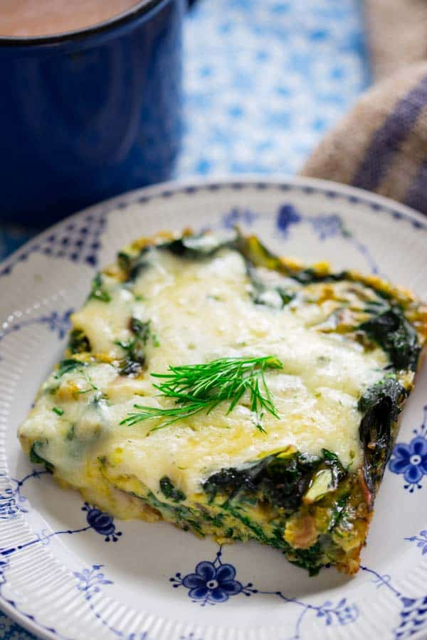 Get your greens at breakfast with this simple Chard and Egg Bake by Healthy Seasonal Recipes. Everyone will enjoy it since it's covered in cheddar cheese and it's low-carb.