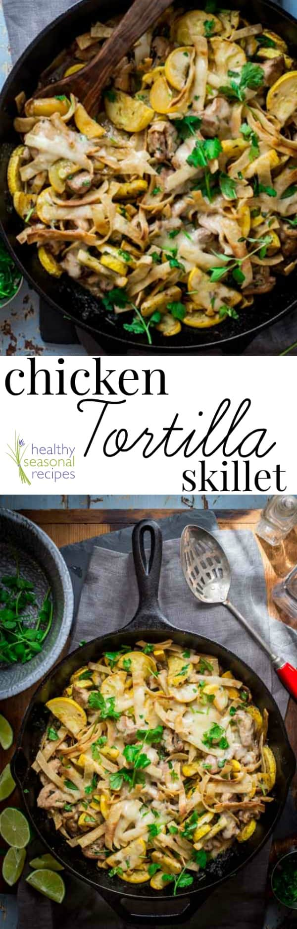 Chicken tortilla skillet photo collage with text