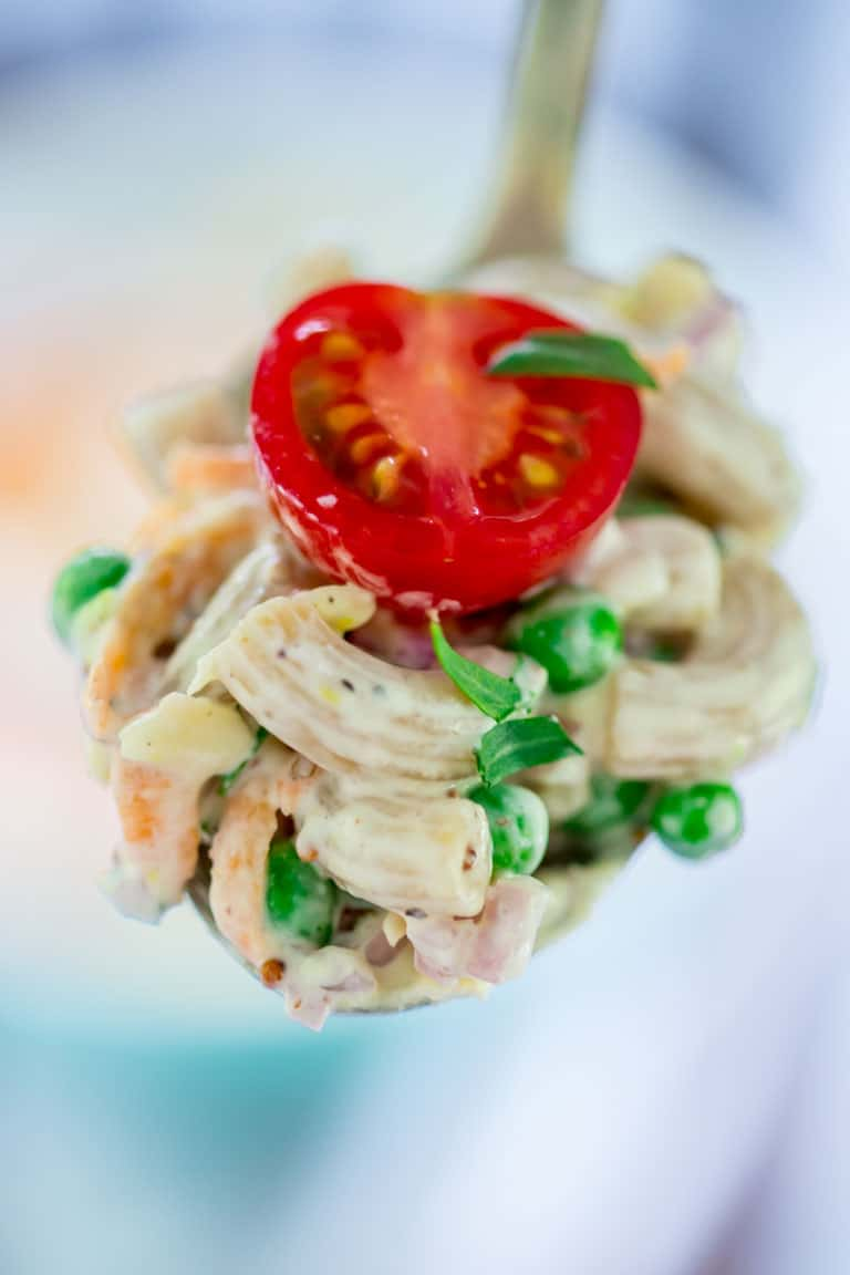 Healthy greek yogurt garden macaroni salad with cheddar. This healthy take on macaroni pasta salad with cheese has loads of garden fresh vegetables in it and Vermont sharp cheddar. Bring it to your next potluck and watch it disappear in a flash plus you'll save more than 100 calories per serving!
