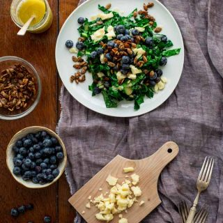 This Kale Salad with Blueberries, Manchego and Pumpkin Seed Clusters by Healthy Seasonal Recipes is loaded with superfoods that will set you right back on course after the weekend.