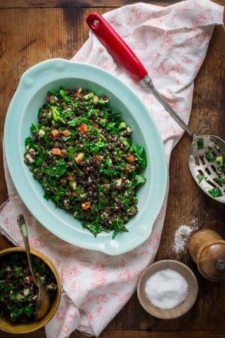 Quick, easy and healthy Mediterranean Black Lentil Salad