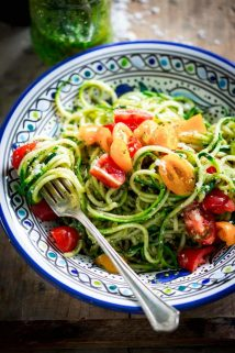 No-Cook Zucchini Noodles with pesto and tomatoes on HealthySeasonalRecipes.com by Katie Webster #lowcarb #zucchini #nocook #vegetarian
