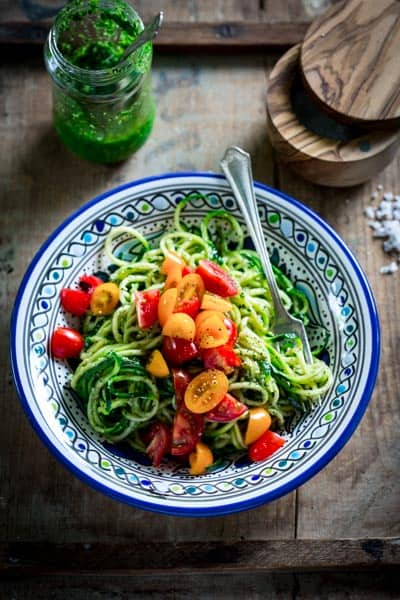 These spiralized zucchini noodles are a no-cook, vegetarian meal by Healthy Seasonal Recipes you'll just love this summer!