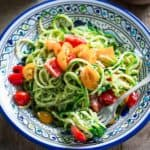 These spiralized zucchini noodles are a no-cook, gluten-free meal by Healthy Seasonal Recipes you'll just love this summer!