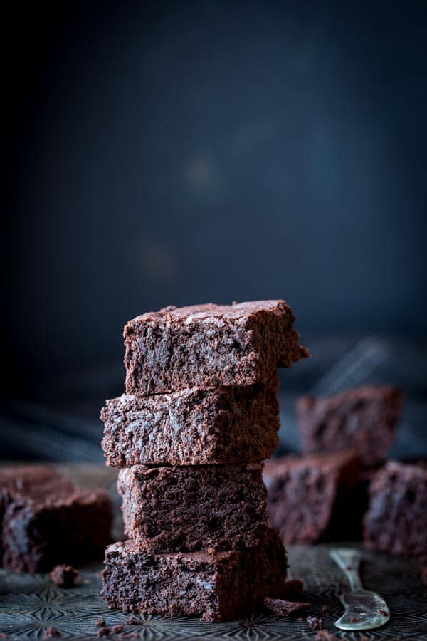 stack of one bowl brownies