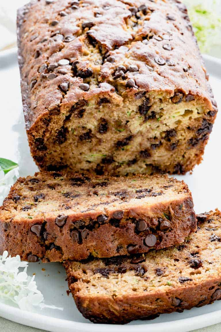 Chocolate Chip Zucchini Bread slices up close