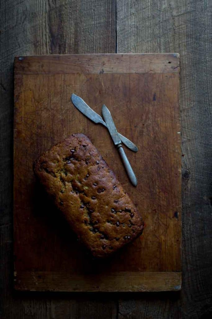 Chocolate Chip Zucchini Bread loaf on cutting board
