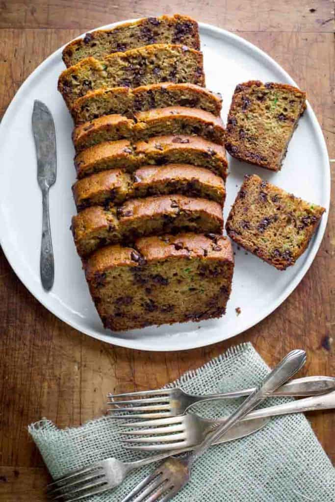 Chocolate chip Zucchini Bread slices on a plate