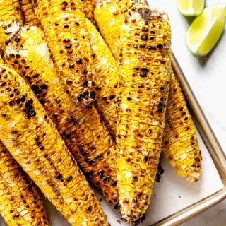close-up of the grilled corn
