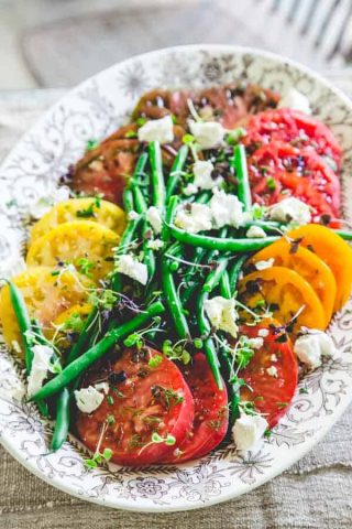 This luscious tomato and green bean salad from Healthy Seasonal Recipes is is so simple to make and is the perfect summer side dish.