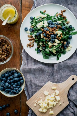 Kale Salad with Manchego and Blueberries