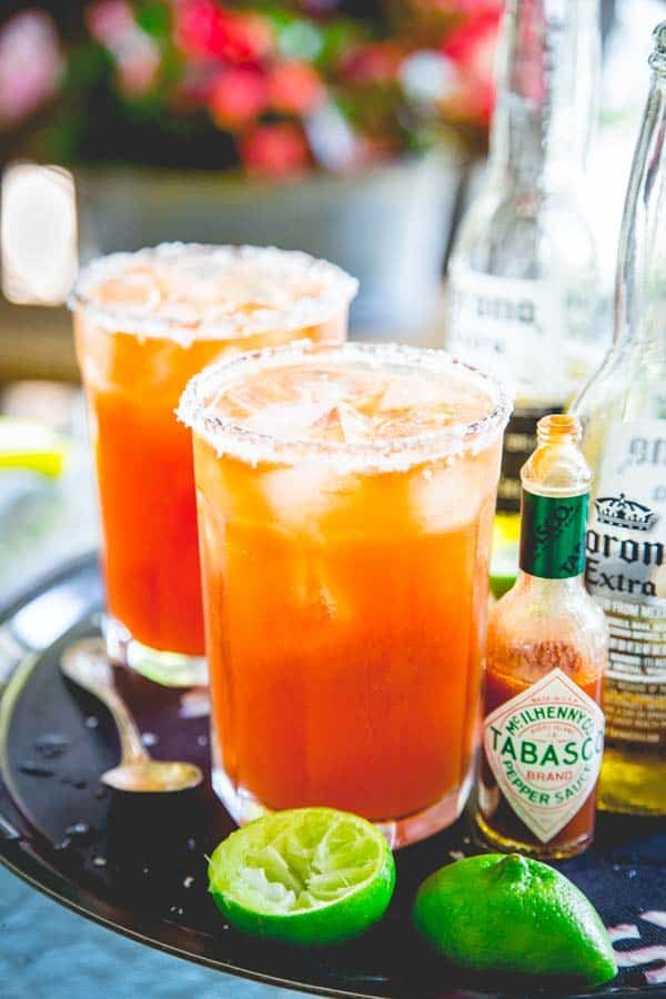 Here's how to make killer michelads by Healthy Seasonal Recipes, also known as red beer. It's a savory beer drink, served with ice, lime, hot sauce and tomato juice.