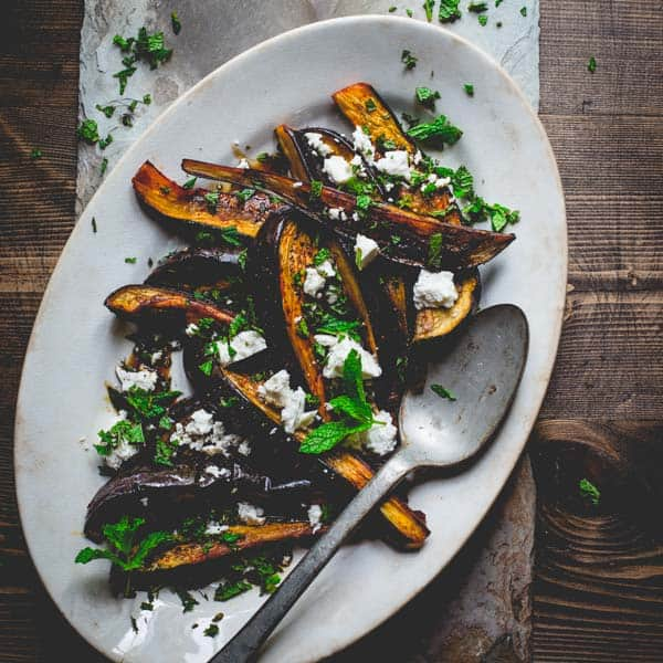 roasted eggplant with pomegranate molasses feta and mint