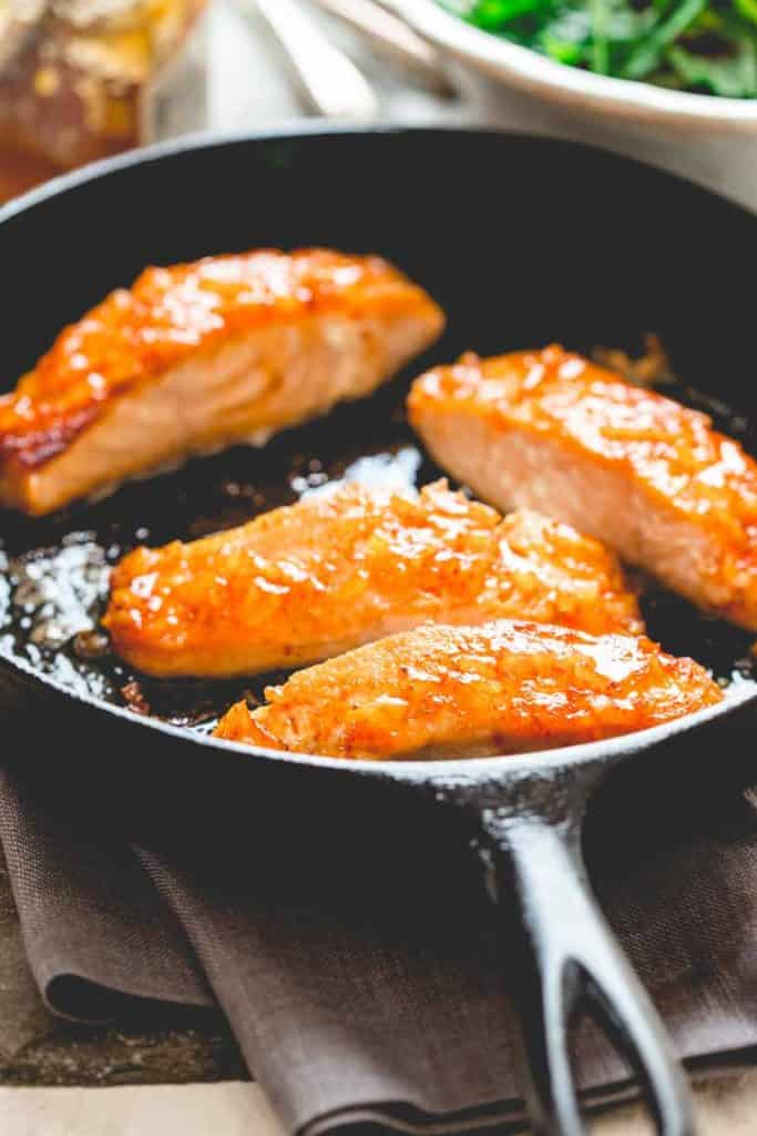 This Simple Sriracha Marmalade Glazed Salmon by Healthy Seasonal Recipes is a great weeknight entree and ready in under 20 minutes!