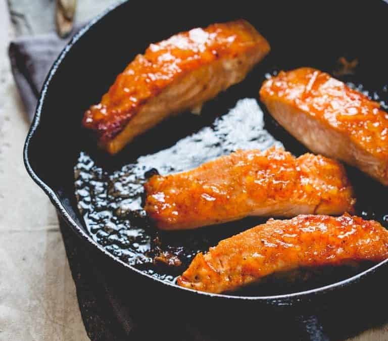 simple sriracha marmalade glazed salmon