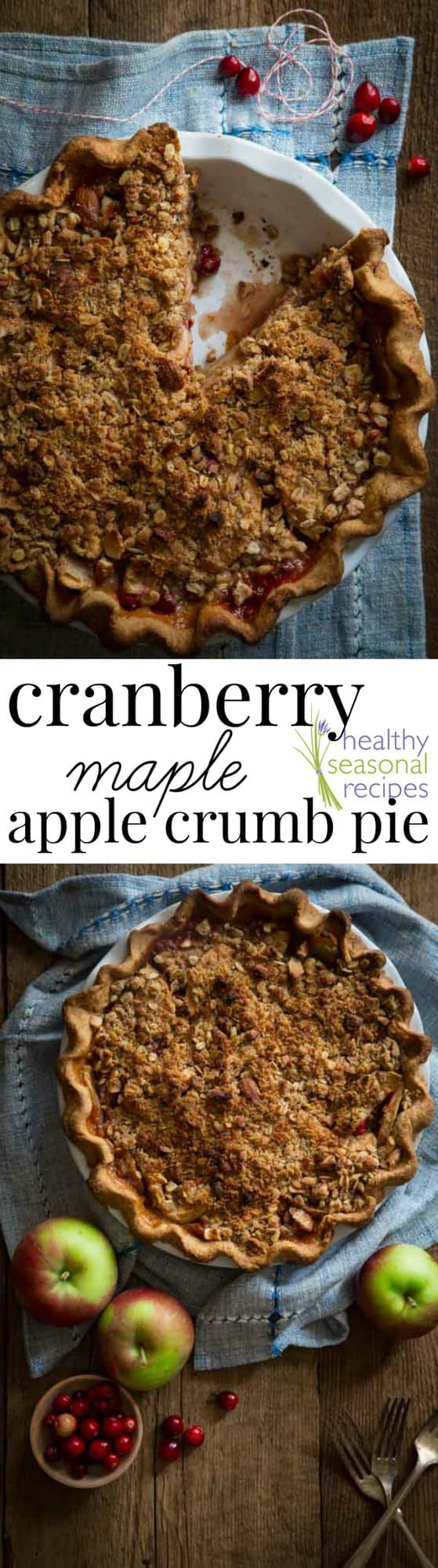 Deep Dish Apple Cranberry Pie With Oatmeal Pecan Crumb Topping Recipe ...