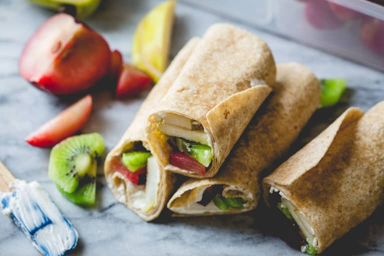Fruit and Cream Cheese Lunch Wraps on counter