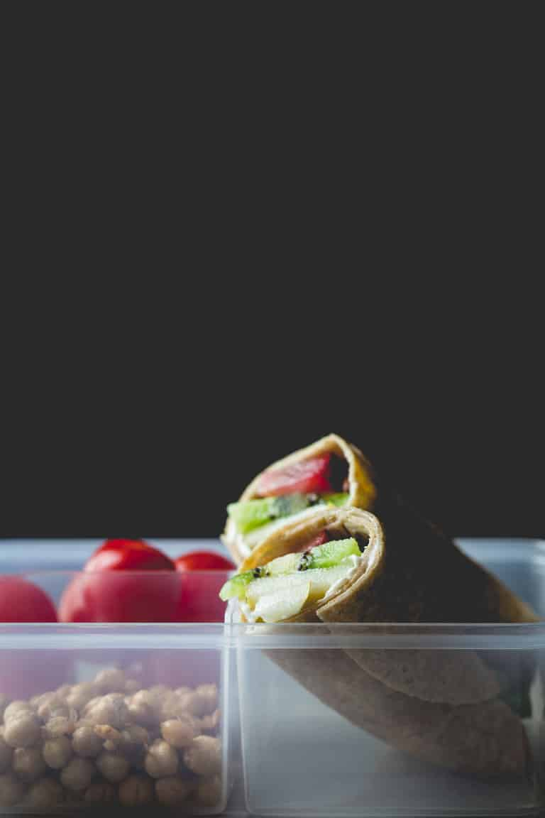 Fruit and Cream Cheese Lunch Wraps in tupperware container