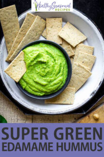 overhead green edamame hummus with crackers