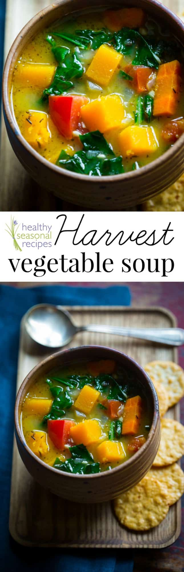 A bowl of soup and a spoon, with Vegetable soup and Butternut Squash