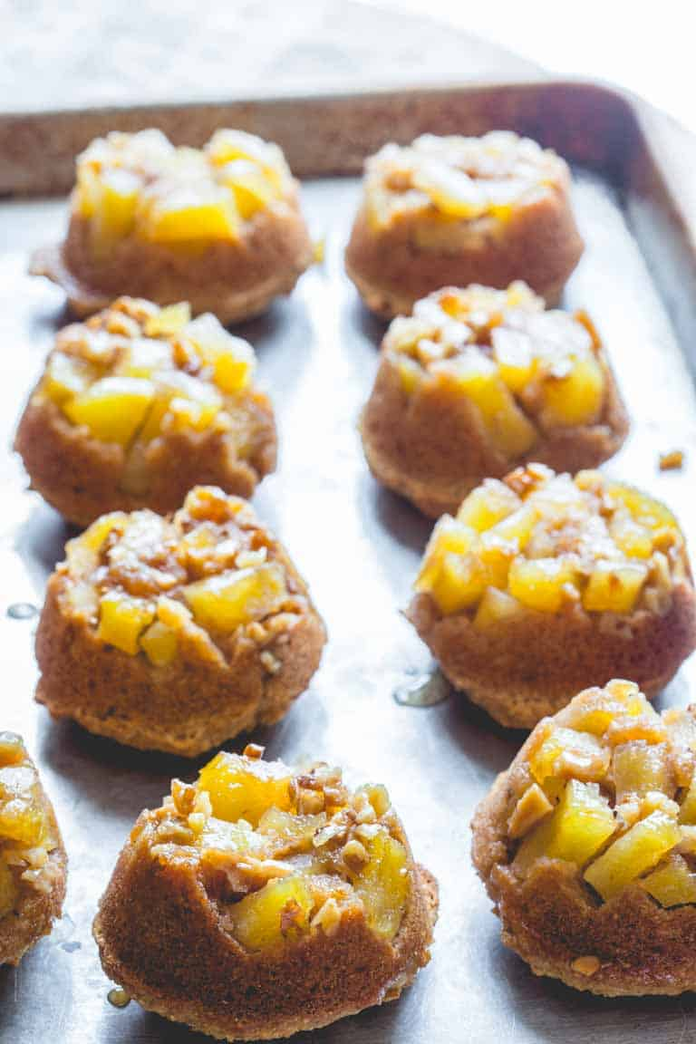 These low sugar upside-down apple muffins by Healthy Seasonal Recipes are a great after school snack.